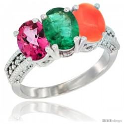 14K White Gold Natural Pink Topaz, Emerald & Coral Ring 3-Stone 7x5 mm Oval Diamond Accent
