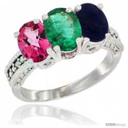 14K White Gold Natural Pink Topaz, Emerald & Lapis Ring 3-Stone 7x5 mm Oval Diamond Accent