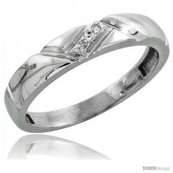 Sterling Silver Ladies' Diamond Wedding Band Rhodium finish, 5/32 in wide -Style Ag012lb