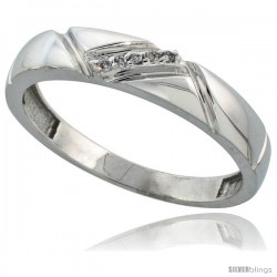Sterling Silver Men's Diamond Wedding Band Rhodium finish, 3/16 in wide -Style Ag012mb