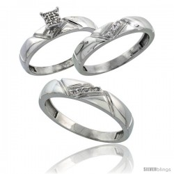 Sterling Silver Diamond Trio Wedding Ring Set His 4.5mm & Hers 4mm Rhodium finish