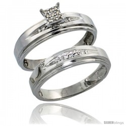Sterling Silver Ladies' 2-Piece Diamond Engagement Wedding Ring Set Rhodium finish, 3/16 in wide -Style Ag013e2