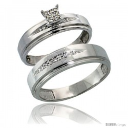 Sterling Silver 2-Piece Diamond wedding Engagement Ring Set for Him & Her Rhodium finish, 5mm & 6mm wide -Style Ag013em