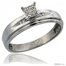 Sterling Silver Diamond Engagement Ring Rhodium finish, 3/16 in wide -Style Ag013er
