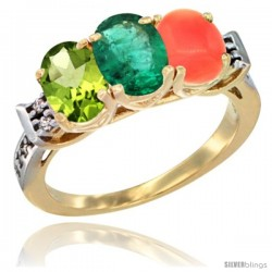 10K Yellow Gold Natural Peridot, Emerald & Coral Ring 3-Stone Oval 7x5 mm Diamond Accent