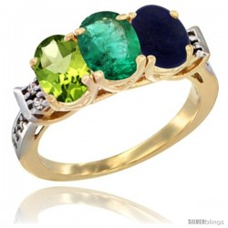 10K Yellow Gold Natural Peridot, Emerald & Lapis Ring 3-Stone Oval 7x5 mm Diamond Accent