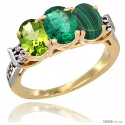 10K Yellow Gold Natural Peridot, Emerald & Malachite Ring 3-Stone Oval 7x5 mm Diamond Accent