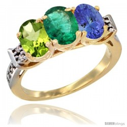 10K Yellow Gold Natural Peridot, Emerald & Tanzanite Ring 3-Stone Oval 7x5 mm Diamond Accent