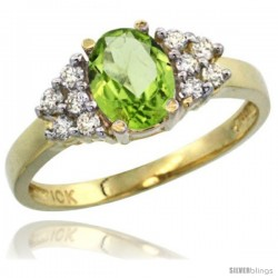 10k Yellow Gold Ladies Natural Peridot Ring oval 8x6 Stone