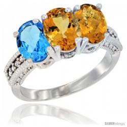 10K White Gold Natural Swiss Blue Topaz, Citrine & Whisky Quartz Ring 3-Stone Oval 7x5 mm Diamond Accent