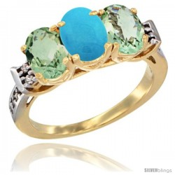 10K Yellow Gold Natural Turquoise & Green Amethyst Sides Ring 3-Stone Oval 7x5 mm Diamond Accent