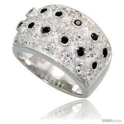 Sterling Silver Dome Ring, High Quality Black & White CZ Stones, 1/2 in (13 mm) wide