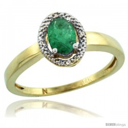 14k Yellow Gold Diamond Halo Emerald Ring 0.75 Carat Oval Shape 6X4 mm, 3/8 in (9mm) wide