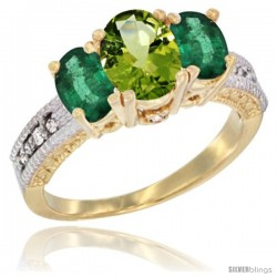 14k Yellow Gold Ladies Oval Natural Peridot 3-Stone Ring with Emerald Sides Diamond Accent