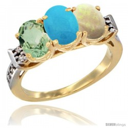 10K Yellow Gold Natural Green Amethyst, Turquoise & Opal Ring 3-Stone Oval 7x5 mm Diamond Accent