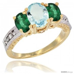 14k Yellow Gold Ladies Oval Natural Aquamarine 3-Stone Ring with Emerald Sides Diamond Accent