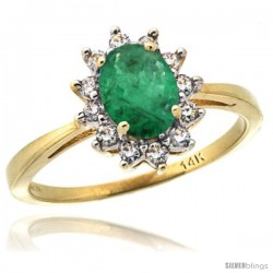 14k Yellow Gold Diamond Halo Emerald Ring 0.85 ct Oval Stone 7x5 mm, 1/2 in wide