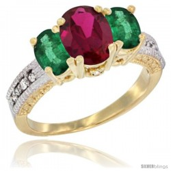 14k Yellow Gold Ladies Oval Natural Ruby 3-Stone Ring with Emerald Sides Diamond Accent