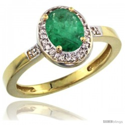 14k Yellow Gold Diamond Emerald Ring 1 ct 7x5 Stone 1/2 in wide