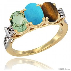 10K Yellow Gold Natural Green Amethyst, Turquoise & Tiger Eye Ring 3-Stone Oval 7x5 mm Diamond Accent