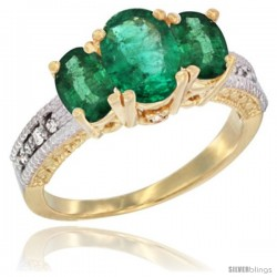 14k Yellow Gold Ladies Oval Natural Emerald 3-Stone Ring Diamond Accent