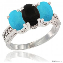 14K White Gold Natural Black Onyx & Turquoise Sides Ring 3-Stone 7x5 mm Oval Diamond Accent