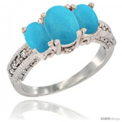 14k White Gold Ladies Oval Natural Turquoise 3-Stone Ring Diamond Accent