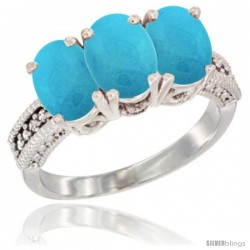 14K White Gold Natural Turquoise Ring 3-Stone 7x5 mm Oval Diamond Accent