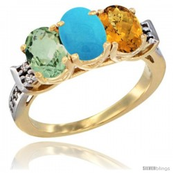 10K Yellow Gold Natural Green Amethyst, Turquoise & Whisky Quartz Ring 3-Stone Oval 7x5 mm Diamond Accent