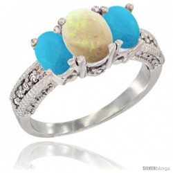 14k White Gold Ladies Oval Natural Opal 3-Stone Ring with Turquoise Sides Diamond Accent