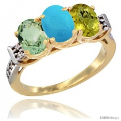 10K Yellow Gold Natural Green Amethyst, Turquoise & Lemon Quartz Ring 3-Stone Oval 7x5 mm Diamond Accent
