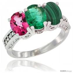 14K White Gold Natural Pink Topaz, Emerald & Malachite Ring 3-Stone 7x5 mm Oval Diamond Accent