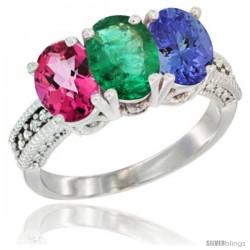 14K White Gold Natural Pink Topaz, Emerald & Tanzanite Ring 3-Stone 7x5 mm Oval Diamond Accent