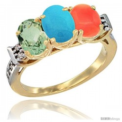 10K Yellow Gold Natural Green Amethyst, Turquoise & Coral Ring 3-Stone Oval 7x5 mm Diamond Accent
