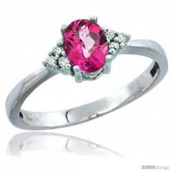 14k White Gold Ladies Natural Pink Topaz Ring oval 6x4 Stone Diamond Accent