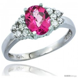 14k White Gold Ladies Natural Pink Topaz Ring oval 8x6 Stone Diamond Accent