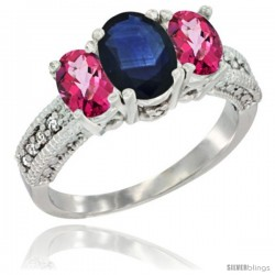 14k White Gold Ladies Oval Natural Blue Sapphire 3-Stone Ring with Pink Topaz Sides Diamond Accent