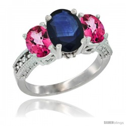 14K White Gold Ladies 3-Stone Oval Natural Blue Sapphire Ring with Pink Topaz Sides Diamond Accent