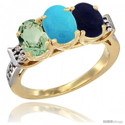 10K Yellow Gold Natural Green Amethyst, Turquoise & Lapis Ring 3-Stone Oval 7x5 mm Diamond Accent
