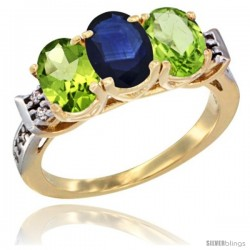 10K Yellow Gold Natural Blue Sapphire & Peridot Sides Ring 3-Stone Oval 7x5 mm Diamond Accent