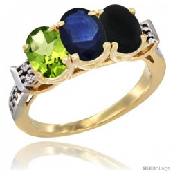 10K Yellow Gold Natural Peridot, Blue Sapphire & Black Onyx Ring 3-Stone Oval 7x5 mm Diamond Accent