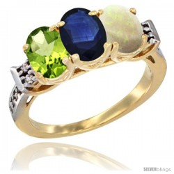 10K Yellow Gold Natural Peridot, Blue Sapphire & Opal Ring 3-Stone Oval 7x5 mm Diamond Accent