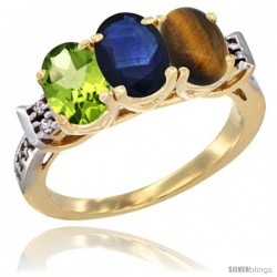10K Yellow Gold Natural Peridot, Blue Sapphire & Tiger Eye Ring 3-Stone Oval 7x5 mm Diamond Accent