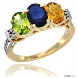 10K Yellow Gold Natural Peridot, Blue Sapphire & Whisky Quartz Ring 3-Stone Oval 7x5 mm Diamond Accent