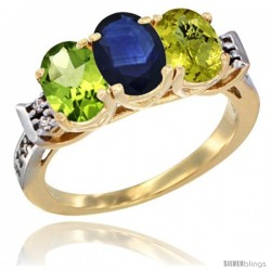 10K Yellow Gold Natural Peridot, Blue Sapphire & Lemon Quartz Ring 3-Stone Oval 7x5 mm Diamond Accent