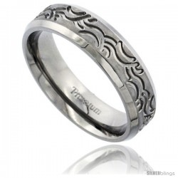 Titanium 6mm Flat Wedding Band / Thumb Ring Tribal Wave Pattern Matte Finish Comfort-fit