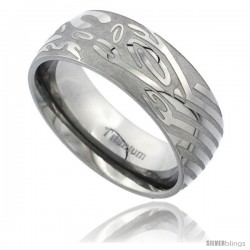 Titanium 8mm Domed Wedding Band Ring Laser Etched Abstract Pattern Matte Background Comfort-fit