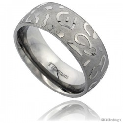 Titanium 8mm Domed Wedding Band Ring Laser Etched Abstract Pattern Matte Background Comfort-fit -Style Rtt520