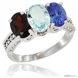 14K White Gold Natural Garnet, Aquamarine & Tanzanite Ring 3-Stone 7x5 mm Oval Diamond Accent