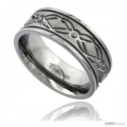 Titanium 8mm Flat Wedding Band Ring Diamond Pattern Matte Finish Comfort-fit